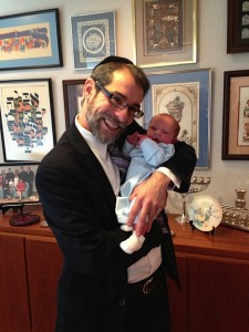 Rabbi Mike Rovinsky with baby
